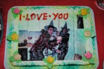 A cake our friends made out of a halloween picture of me hitting F with a broom
