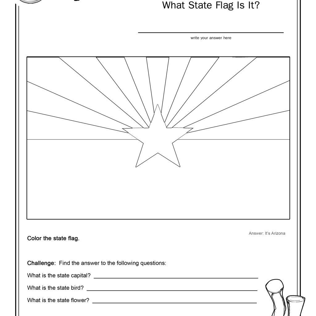 Coloring Page State Flag Arizona Printable Worksheet