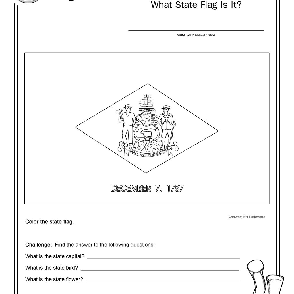 Coloring Page State Flag Delaware Printable Worksheet