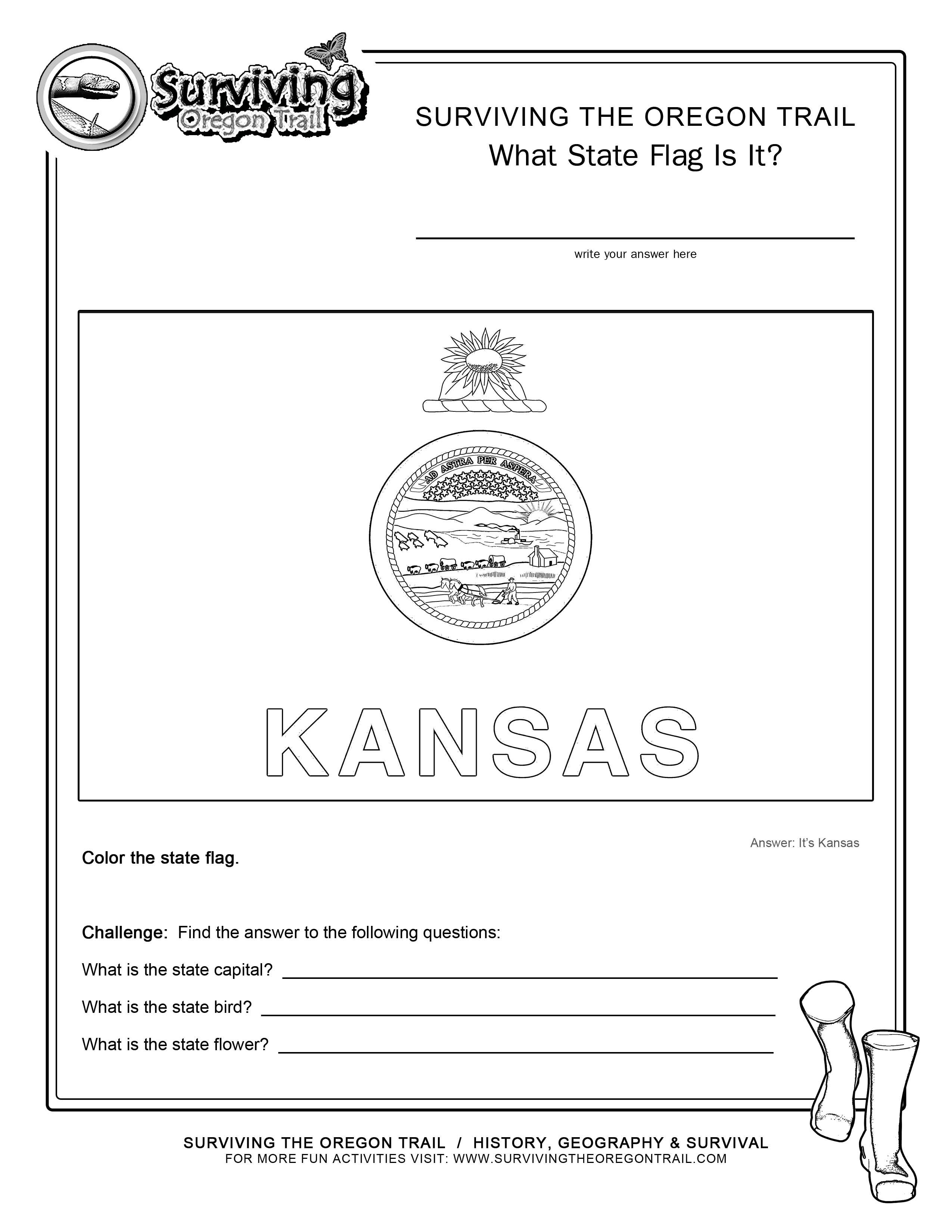 Coloring Page State Flag Kansas Printable Worksheet