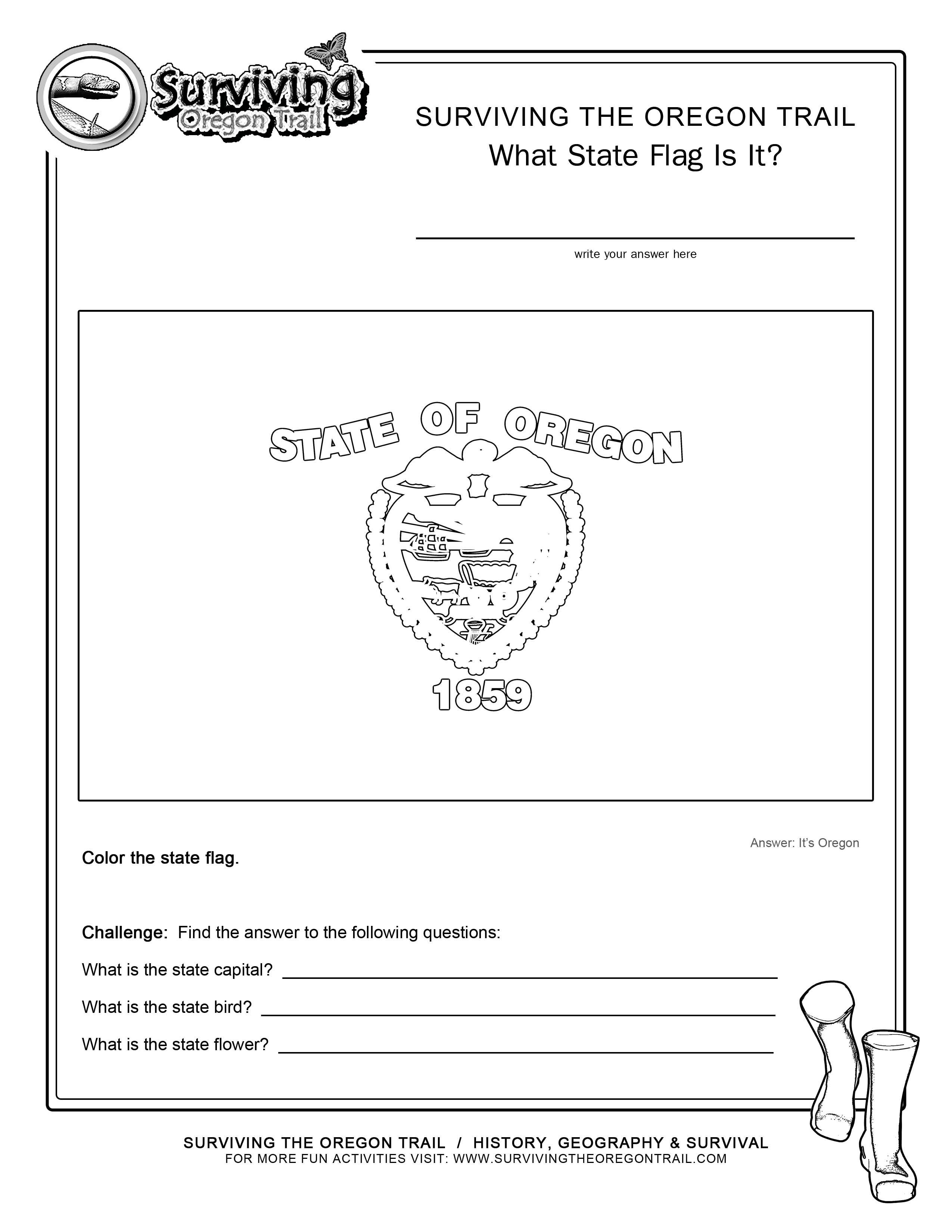 Coloring Page State Flag Oregon Printable Worksheet