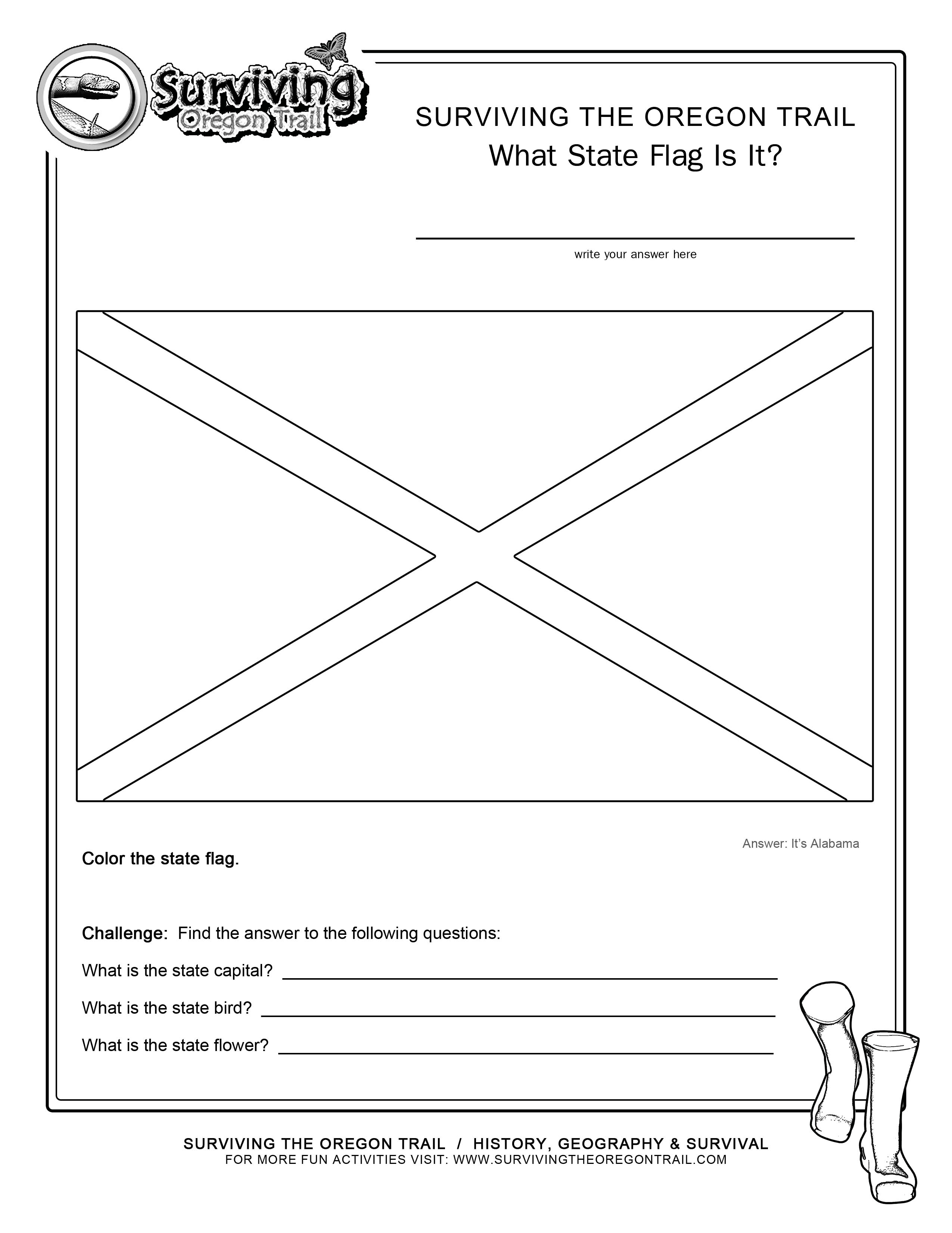 Coloring Page State Flag Alabama Printable Worksheet Surviving The Oregon Trail