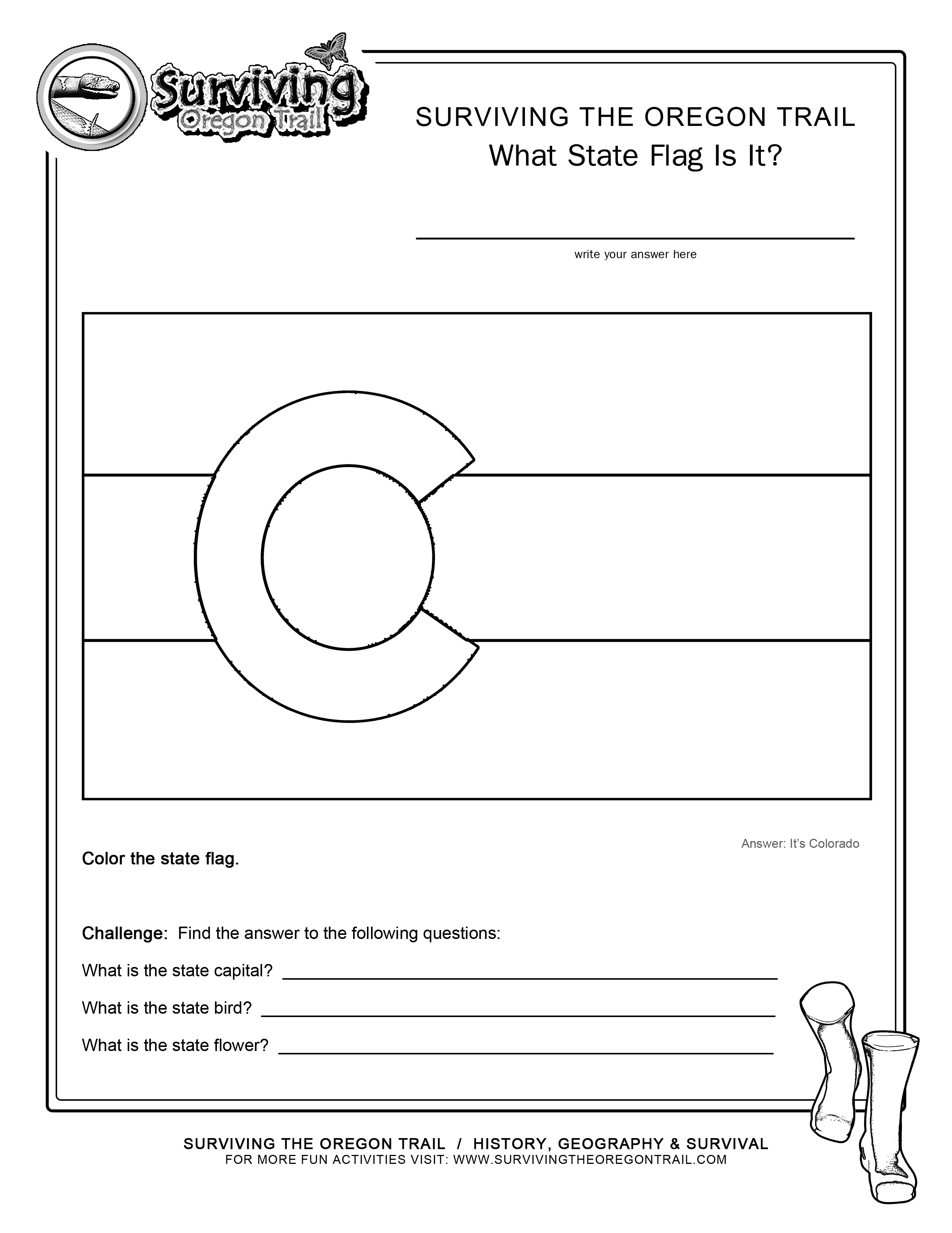 Coloring Page State Flag Colorado Printable Worksheet Surviving The Oregon Trail
