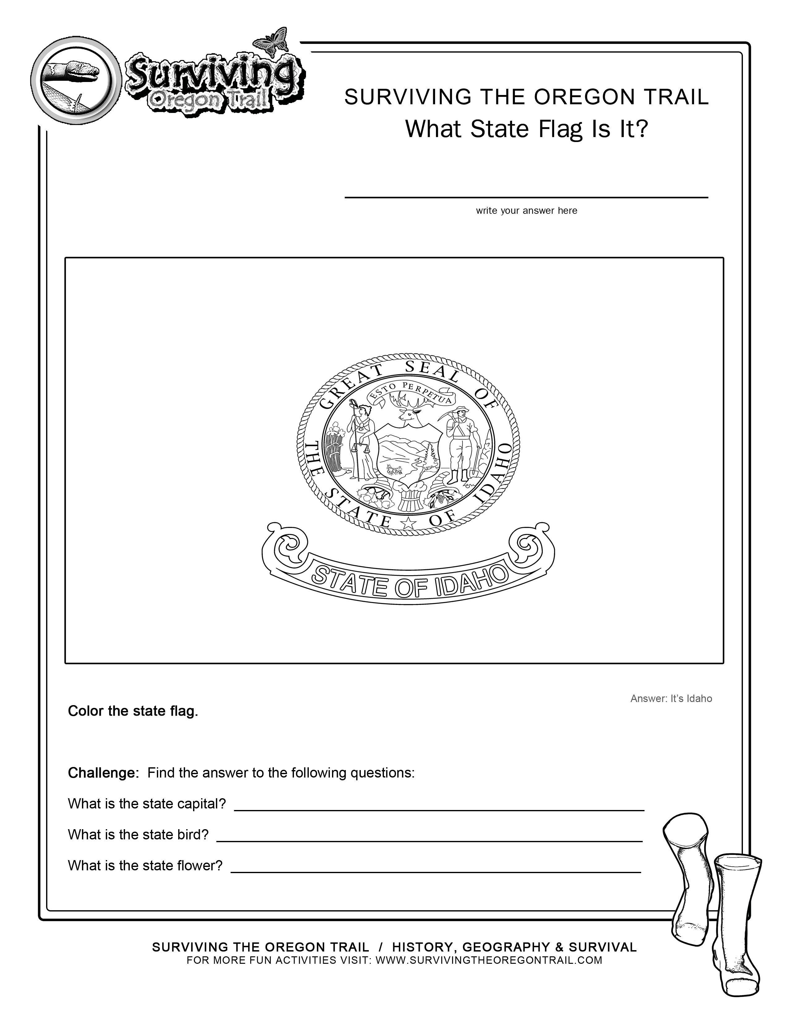 Coloring Page State Flag Idaho Printable Worksheet