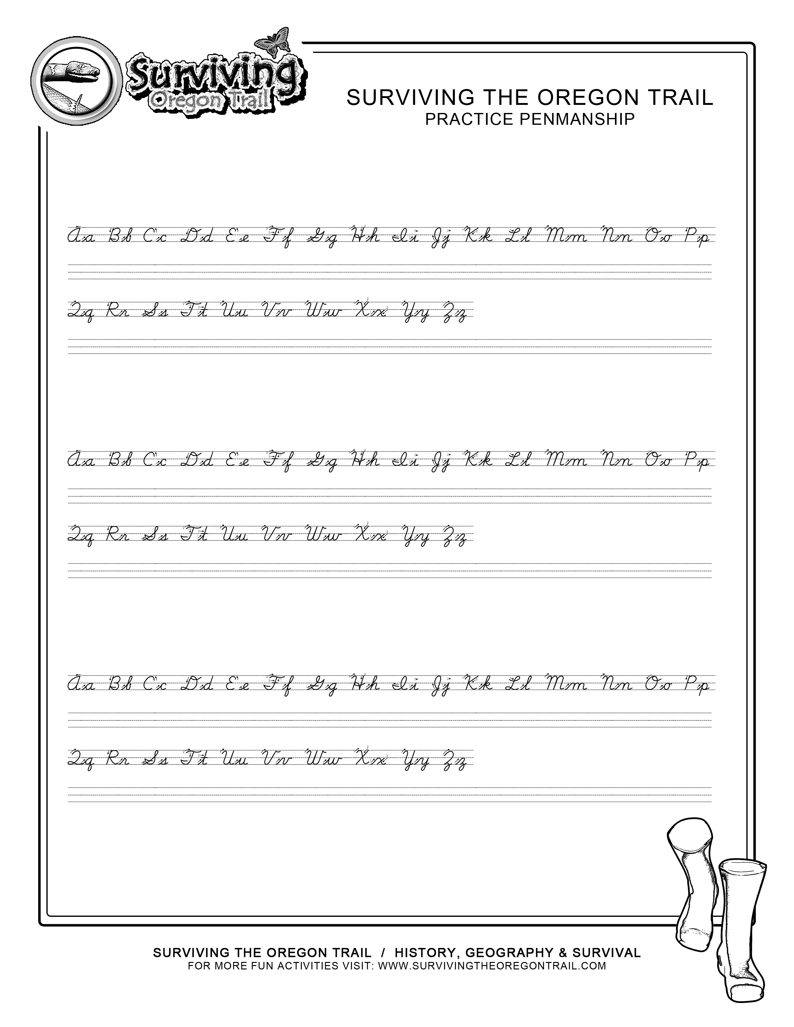 Free Abc S Cursive Worksheet Small Print Surviving The Oregon Trail