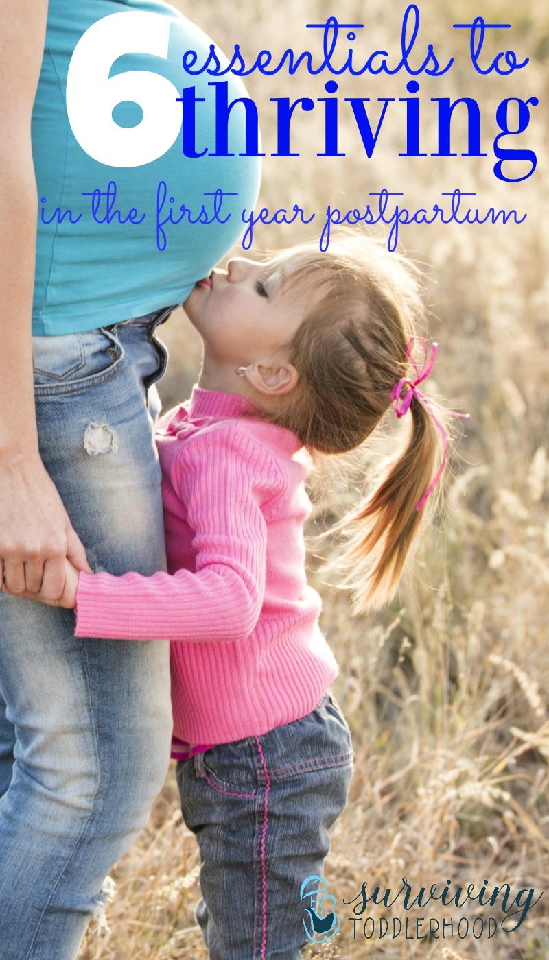 6 essential things you must know about thriving during the first year postpartum. How you can nourish yourself, nurture your marriage, and find community. The first year postpartum is hard, but these tips can help you to thrive instead of just survive. Christian Motherhood | Natural Mothering | Postpartum Care | Postpartum Support | Postpartum Preparation | Breastfeeding | Marriage after Baby |