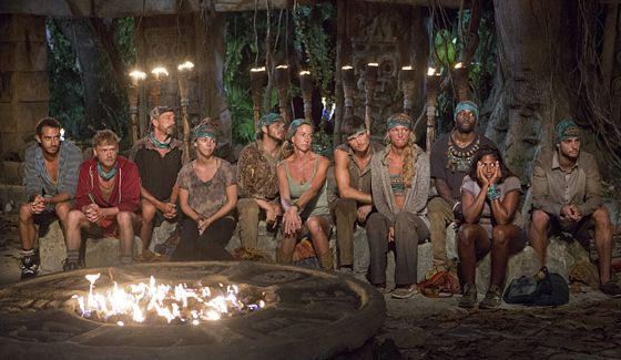 Survivor tribe Huyopa sits as Tribal Council