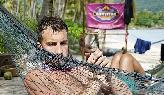 Survivor castaway Stephen Fishbach hangs out