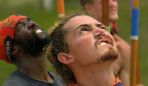 Joe Anglim keeps an eye on the Survivor challenge