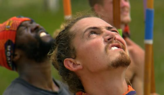 Joe Anglim keeps an eye on the Survivor challenge