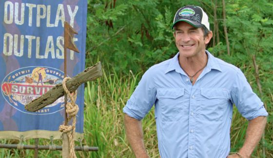 Jeff Probst greets castaways on Survivor 2017