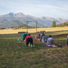 Sunrise mountainside yoga...postcard worthy