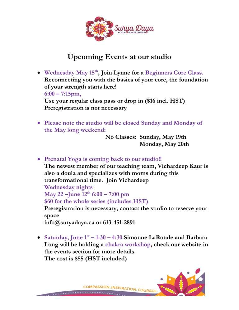 Upcoming Events at our studio - May-1