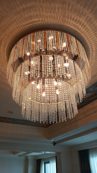 Closeup of the crystal chandelier