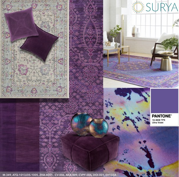 SURYA TO HEAT UP WINTER MARKETS WITH  ULTRA VIOLET  RUGS AND         Surya will be showcasing a variety of rugs and accessories in Ultra  Violet  the Pantone     2018 Color of the Year  Featured as a primary and  accent