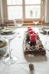 Candles, advent, festive laid table, Christmas theme, Vaihingen/Enz, Baden-Württemberg, Germany