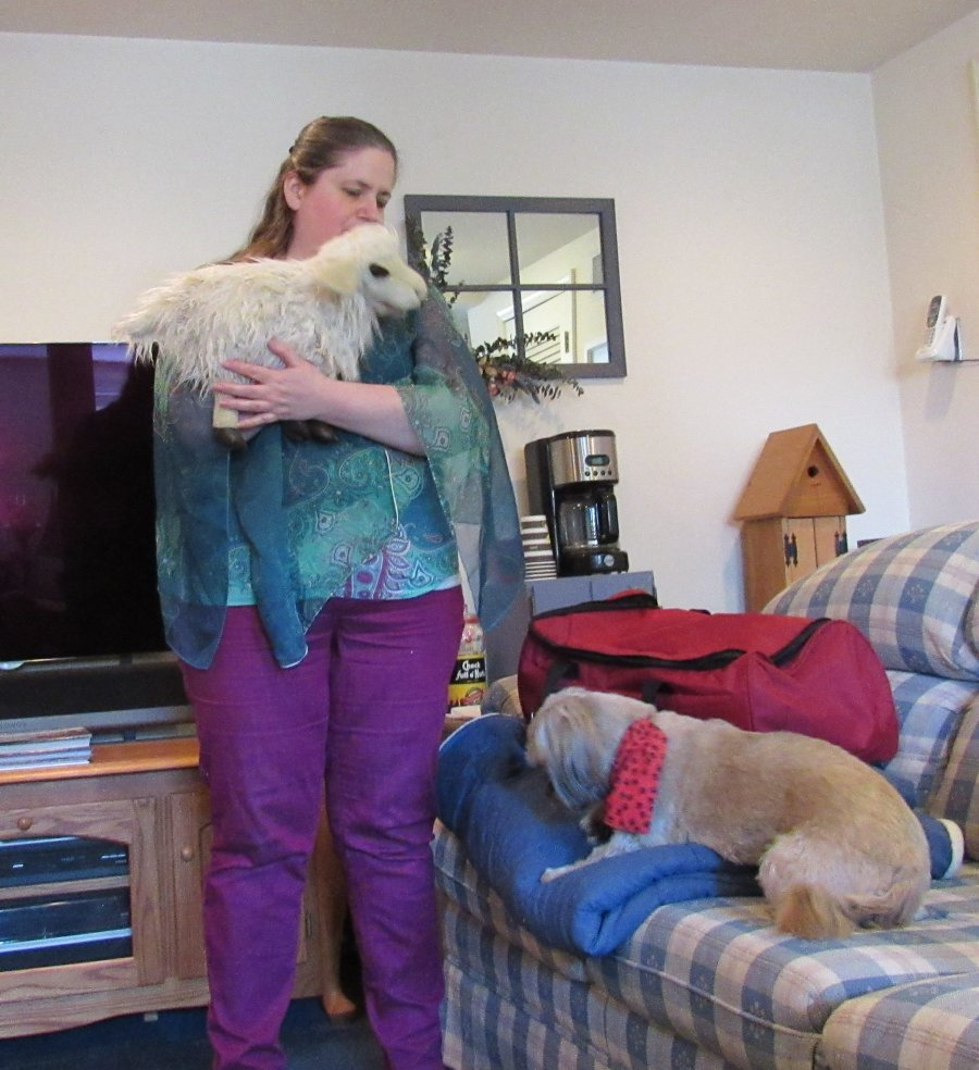 Susan Joy Clark, Christian puppeteer in northern New Jersey, standing with lamb puppet, with dog nearby on couch.