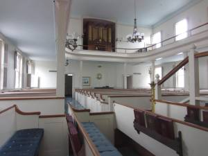 Federated Church, Edgartown, taken from pulpit and facing entry. Photo by Jeanne Gehret