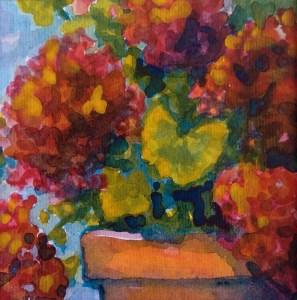 Geraniums in a Terra Cotta Pot – Image © Susan Bartel. All Rights Reserved.