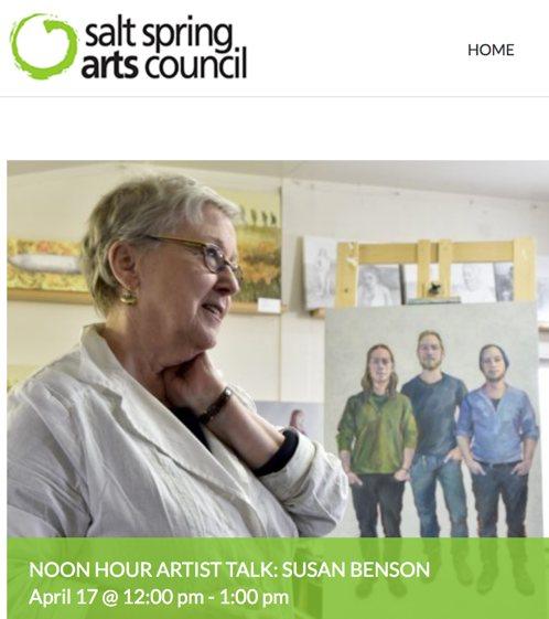 SALT SPRING ARTS COUNCIL, Noon Hour Artist Talk, April 17, Mahon Hall