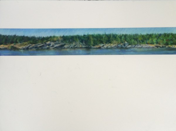 Salt Spring Island Coast, 22.5x30 pastels on Arches Paper