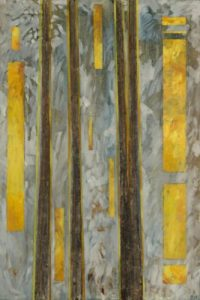 "SUNLIGHT THROUGH FOG 36"" X 24"" oil and mixed media on birch panel $875"