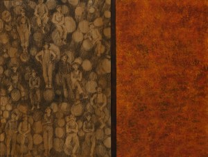 "LUMBER JACKS 1 18"" X 24 ""mixed media $780"