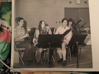I'm on the left in this photo of 4 members of my woodwind quintet from Rock Island High School