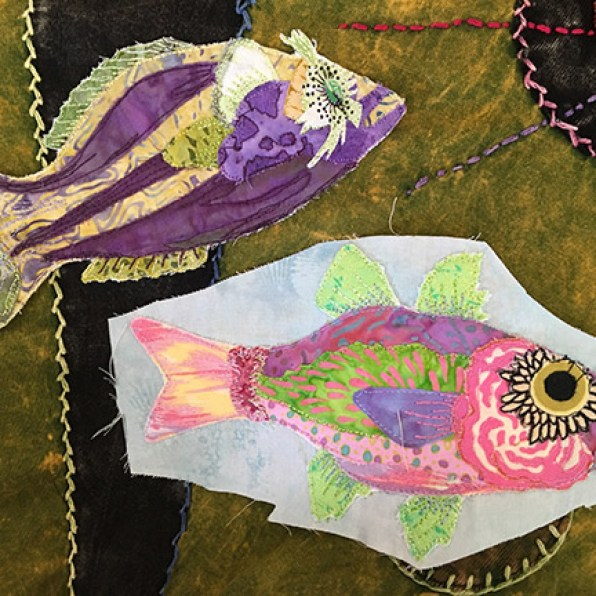 Mini-fish studies from my first book, Freestyle Quilts, by Beth Klingel.
