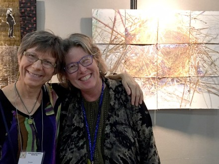 """Wen Redmond, who had a quilt in the SAQA exhibit """"Dinner at Eight,"""" is a special friend who I've known for at least 20 years. She was one of the artists in the first art quilt group I was ever a part of."""