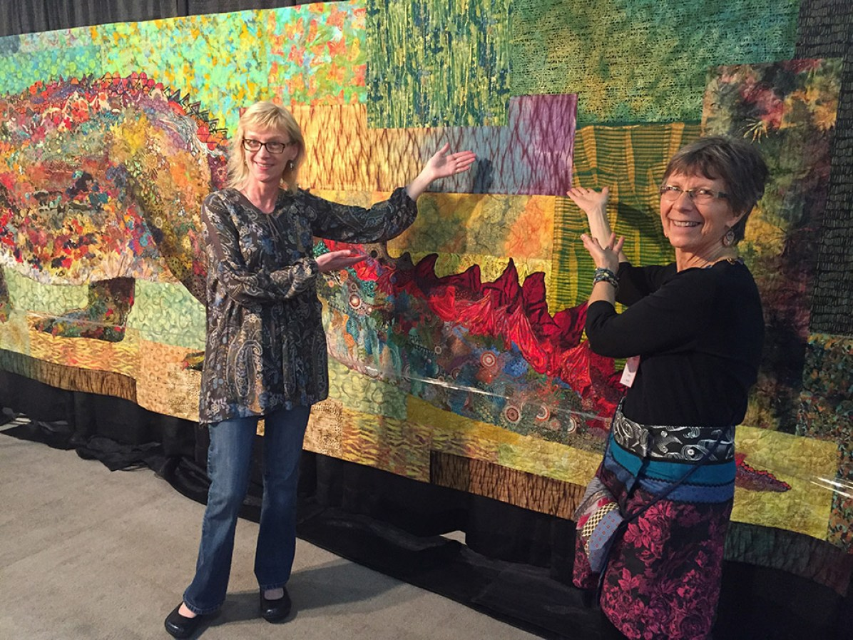 """Years ago I taught in Yellowknife, Canada, nearing the Arctic Circle. Donna was my guild contact and before I left she gifted me some pieces of fabric she had Shibouri dyed. I finally found the perfect place for them in """"Crocodylus Smylus."""""""