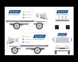 my role PRODUCTION agency CREATIVE NETWORK art director DAVERAL PRINS. truck graphics for securit records management and shredit mobile shredding service trucks.
