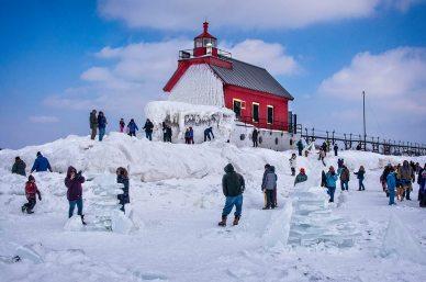Lake MI big red winter