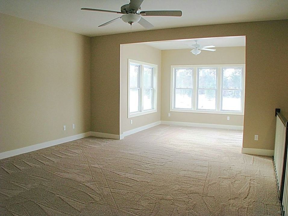 Lighted ceiling fan in living room