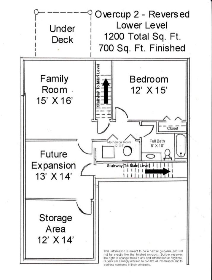Lower floor plan of of reversed Overcup 2 Unit