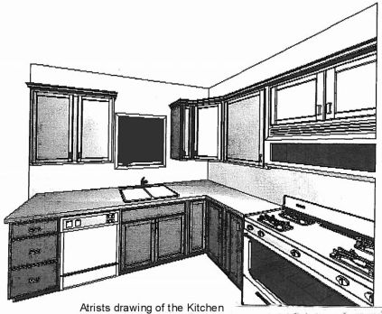 2444 Artists drawing of kitchen