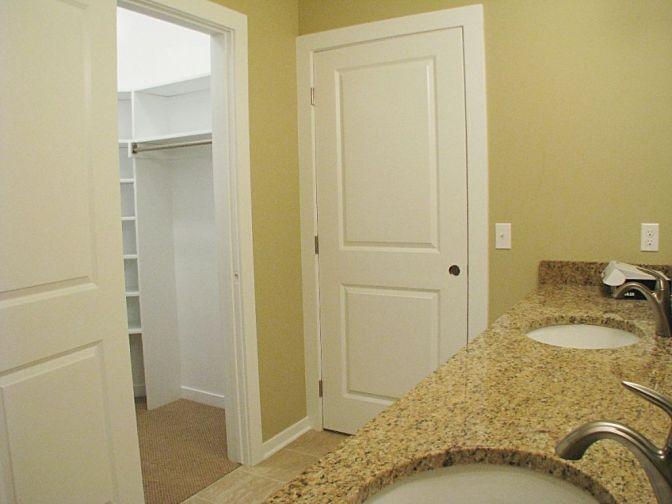 Master bath with door to walk-in closet.