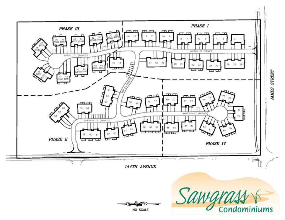 Plat map of entire development of Sawgrass Condominiums on James Street in Holland, MI 49424