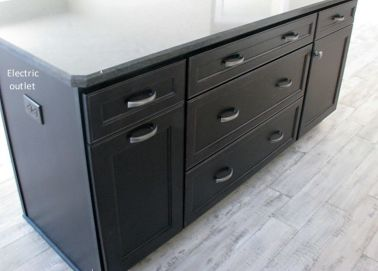 Storage drawers and shelves in center island