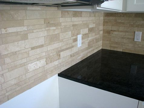 Brick look backsplash