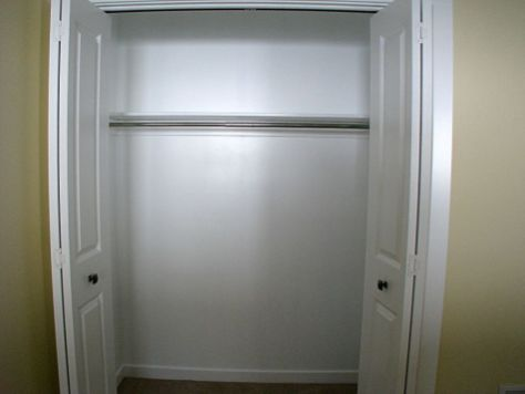 Hanging rod in lower level bedroom