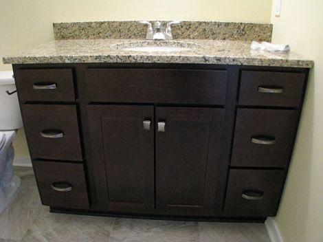 Vanity in lower level full bath