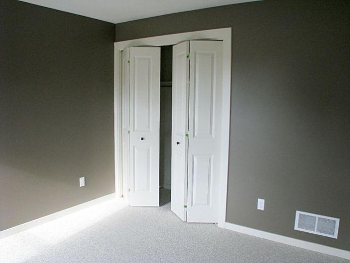 Double bi-fold door on closet in lower level bedroom.