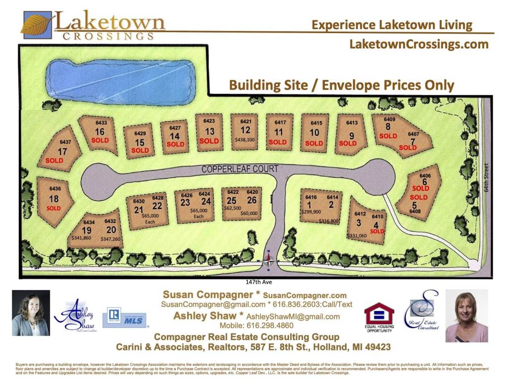 Laketown Crossings condos Holland MI development layout