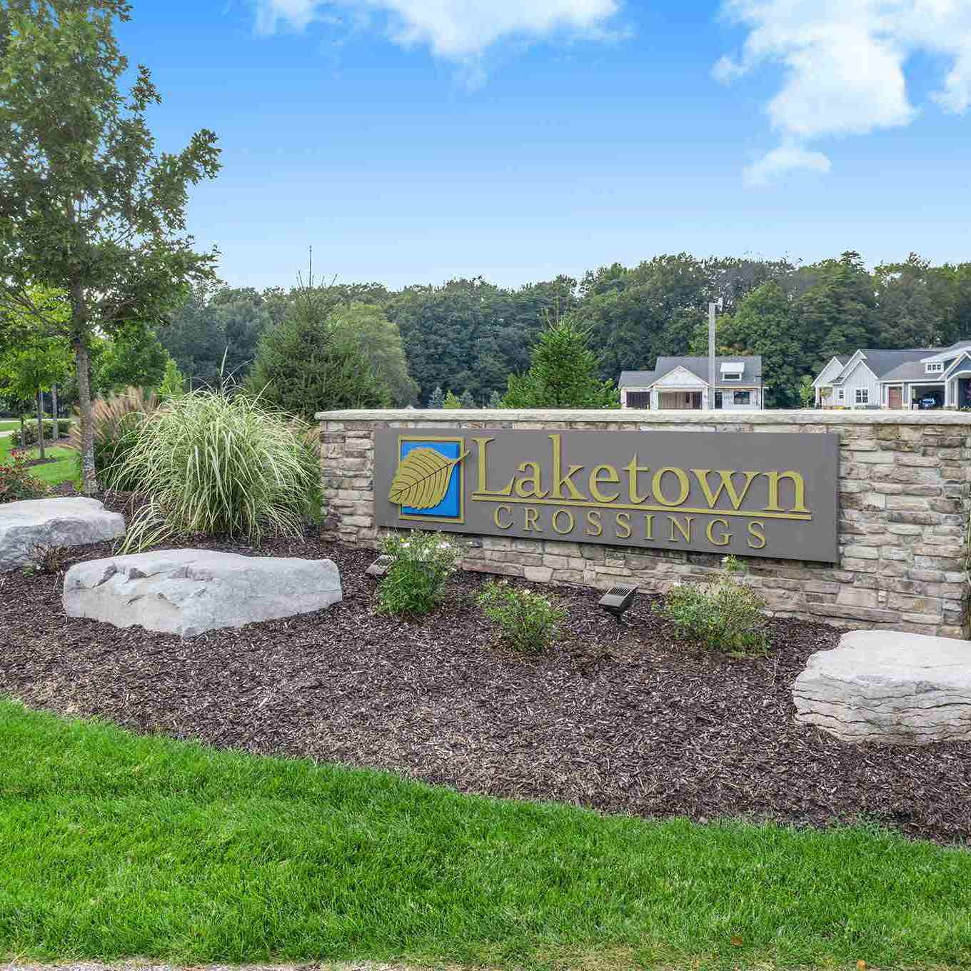 Laketown Crossings condos Holland MI front entrance sign