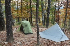 My tent on the left and Mary's on the right at our camp site at White Rock