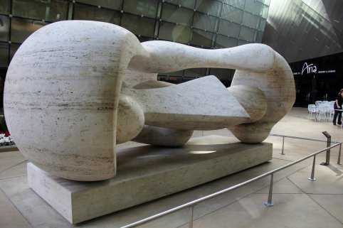 Henry Moore sculpture outside Aria / Crystals