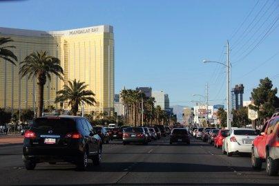 driving up Las Vegas Blvd.