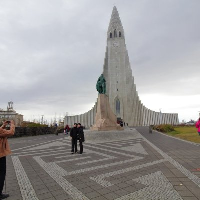Paul helping out some fellow tourists at Hallgrimskirkja