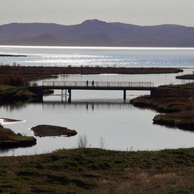 Walkways over the river feeding into Lake Þingvellir